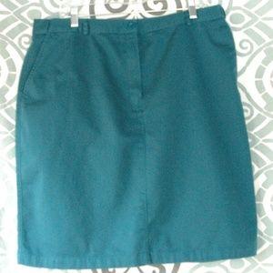 LL Bean Turquoise A Line skirt Elastic Waist